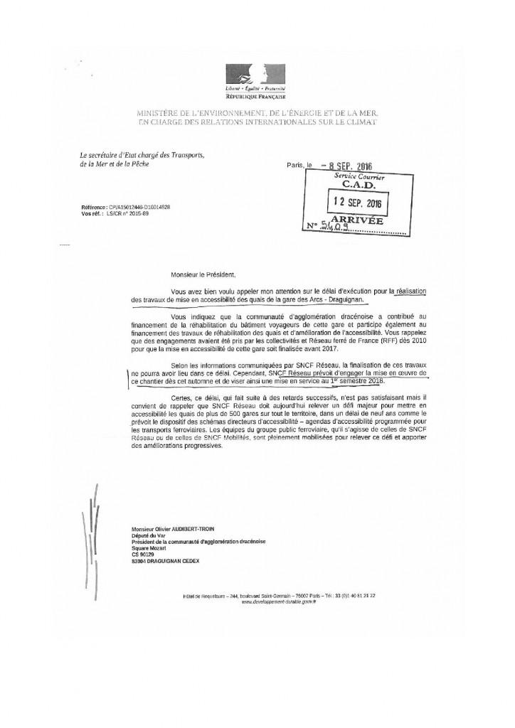 b60912 Secrétaire etat transport Président CAD 2