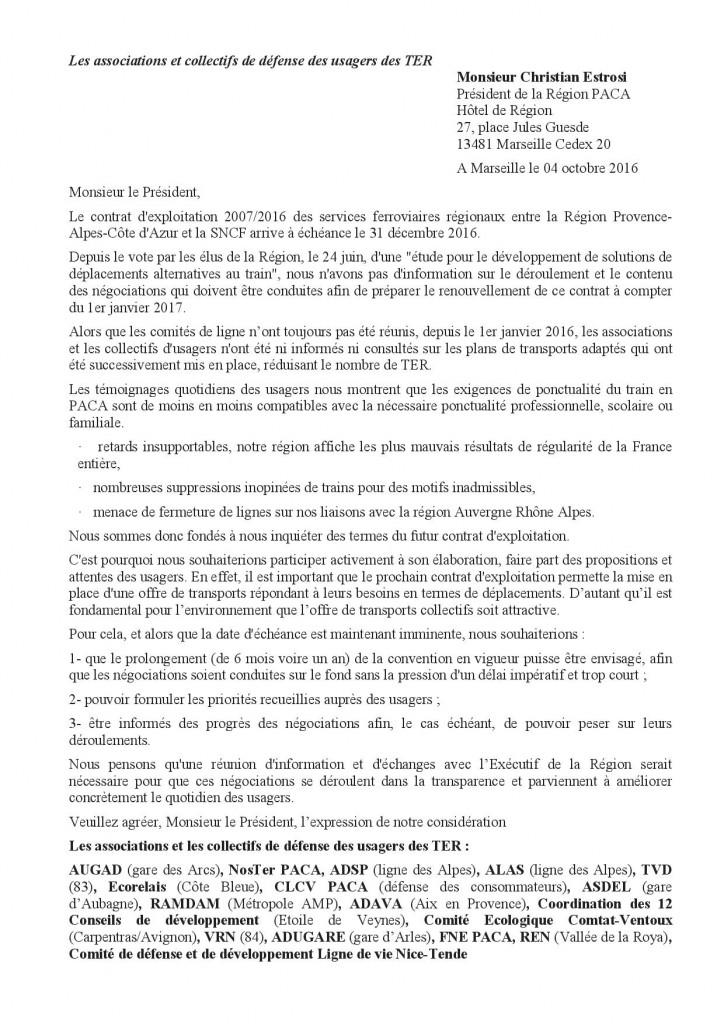 b61004 AUGAD et associations des usagers des TER Courrier Estrosi